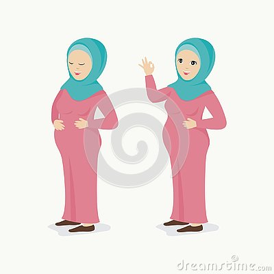 Pregnant moslem woman, with lovely character in two poses