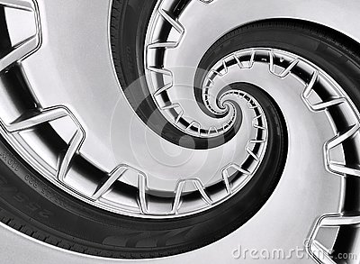 Abstract modern car wheel rim with tire twisted into surreal spiral. Automobile repetitive pattern background illustration. Car ab