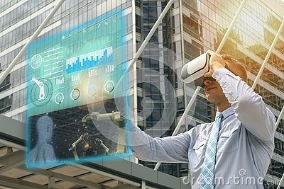 Iot industry 4.0 concept,industrial engineer using smart glasses with augmented mixed with virtual reality technology and use arti