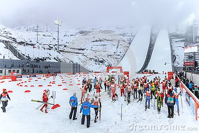 Ski jumping at the 2014 Winter Olympics was held at the RusSki Gorki Jumping Center. Nordic combined skiers get ready to start run