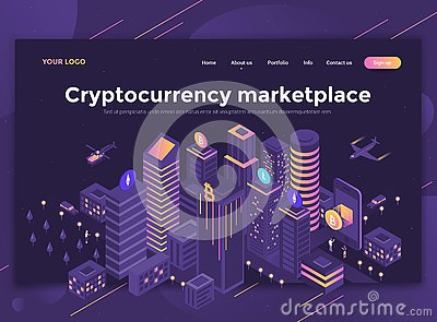 Flat Modern design of website template - Cryptocurrency marketpl