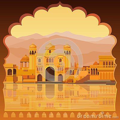 Animation landscape: the ancient Indian city: temples, palaces, dwellings, river bank.