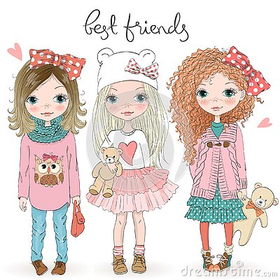 Three hand drawn beautiful cute little girls with Teddy bears on the background with the inscription best friends.