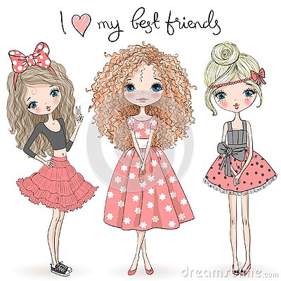 Three hand drawn beautiful cute girls on the background with the inscription I love my best friends.