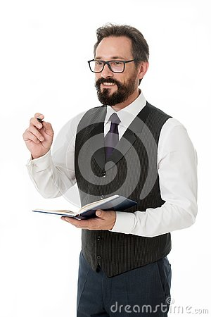 To do list. Businessman planning business schedule with notepad. Time management and organizing skill. Man bearded