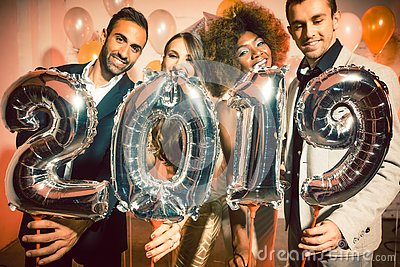 stock image of party people women and men celebrating new years eve 2019