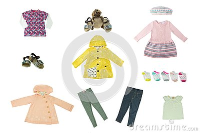 stock image of collage set of children clothes. concept spring autumn and summer clothes. isolated on white. close up.