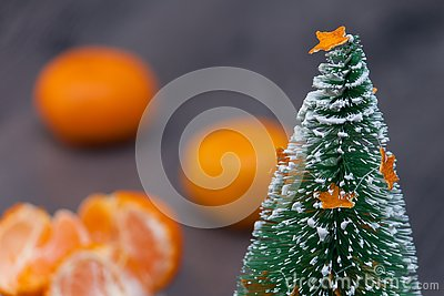 Decorative christmas tree or fir with madarin, citrus fruicts.