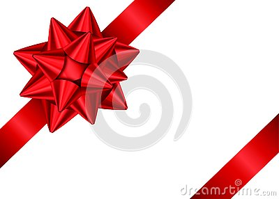 Red gift ribbon and bow for corner of page decor.