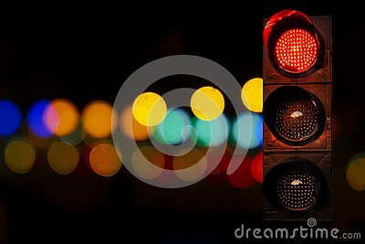 Traffic lights red color at night