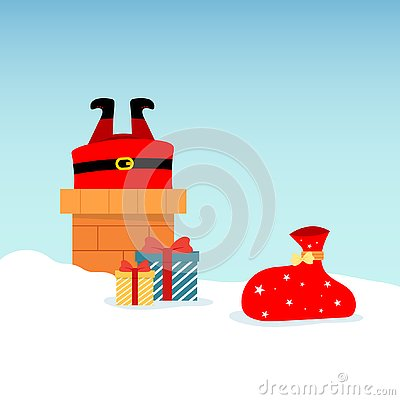 Vector illustration of Santa Claus on roof, diving into chimney, with boxed gifts lying around in snow. Christmas and