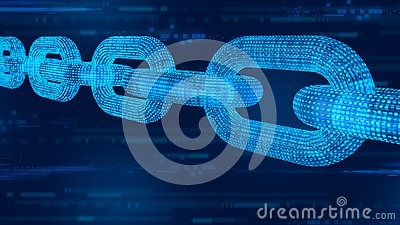 Block chain. Crypto currency. Blockchain concept. 3D wireframe chain with digital code. Editable cryptocurrency template. 3D illus