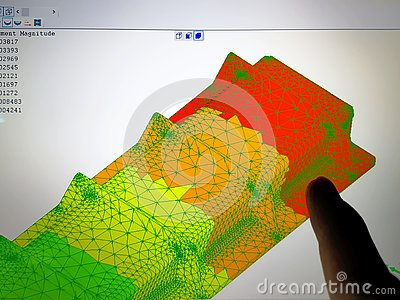 Computer Screen with Finite Element Analysis Result
