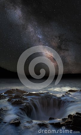 Thor`s well under the milky way