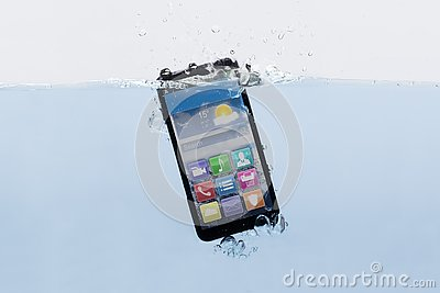 Mobile Phone Submerged In Water