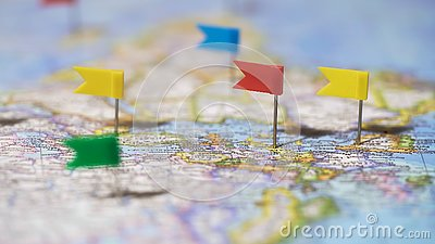 World tour route marked with pins on map, travel destinations, active lifestyle