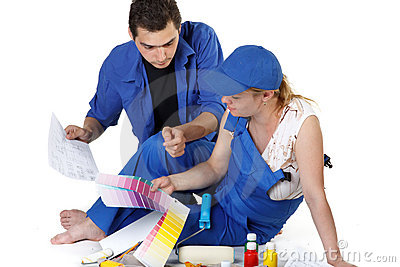 Young family plans repair of a children's room.