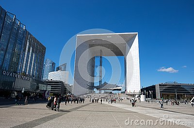 Grand Arch de la Defense, modern business and financial district in Paris, France.