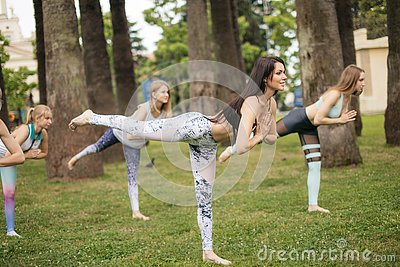stock image of yoga classes outdoor at park. group of women exercising outdoors.
