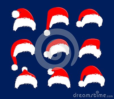Christmas red hats icon set. Santa Claus costume vector illustration. New Year photography portreit decoration element.