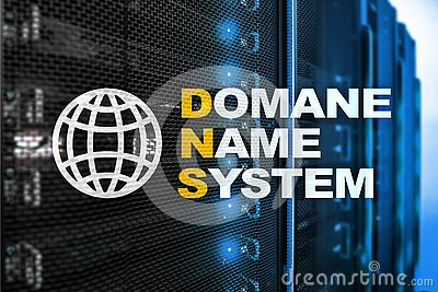 Dns - domain name system, server and protocol. Internet and digital technology concept on server room background