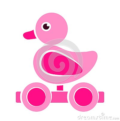 Pink wooden duck pull toy