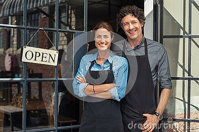 Small business owners couple