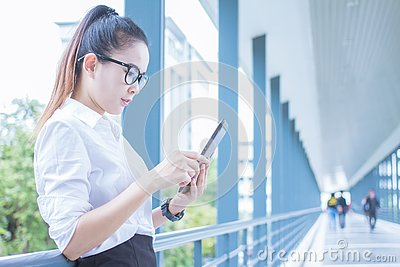 stock image of business woman using tablet of working. meetings the commercial activities in promoting. together create a mutually beneficial.