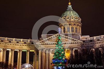 View of Kazan Cathedral and Christmas Tree at night. Saint Petersburg. Russia