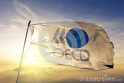 Organisation for Economic Co-operation and Development OECD flag textile cloth fabric waving on the top sunrise mist fog