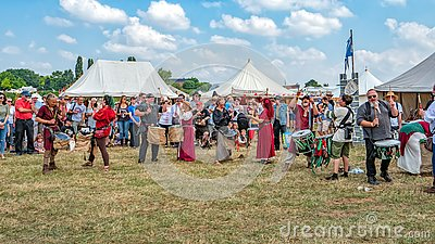 The Pentacle Drumming Troupe, Tewkesbury Medieval Festival, England.