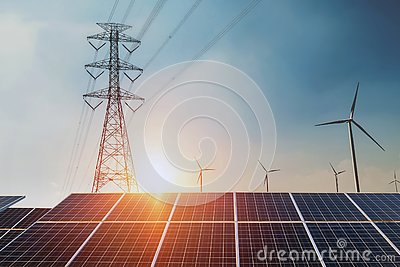 Solar panels with electricity pylon and wind turbine Clean power