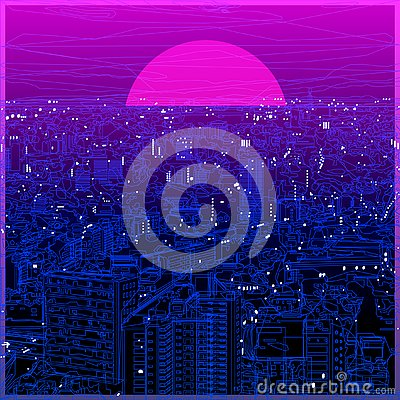 Cityscape ultraviolet lineart in low poly design