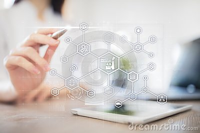 stock image of industry 4.0 concept, smart factory structure. flow automation and data exchange. modern manufacturing technologies.