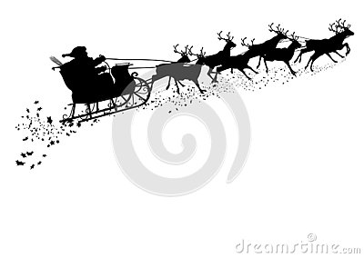 Santa Claus with Reindeer Sleigh and Star Trail Silhouette