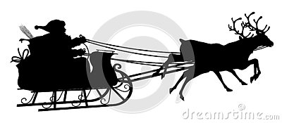 Santa Claus with Reindeer Sled - Black Silhouette on white Background