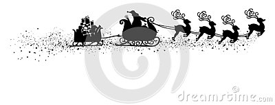Abstract Flying Santa Claus with Reindeer Sled Vector Illustration Black Shape - Silhouette