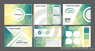 3d origami yellow to green powerpoint presentation templates vectors.