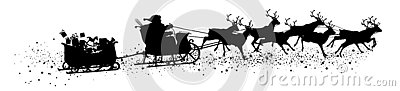 Santa Claus with Reindeer Sleigh and Trailer - Black Vector Silhouette