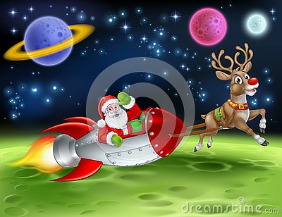 Santa Claus Rocket Sleigh Space Christmas Cartoon