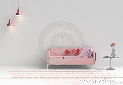 Rooms of Love on Valentine`s Day. Background and interior. 3D rende