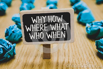 Handwriting text writing Why How Where What Who When. Concept meaning Questions to find solutions Query Asking Stand blackboard wi