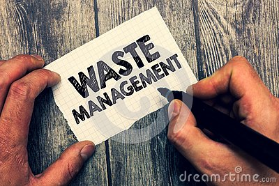 Conceptual hand writing showing Waste Management. Business photo showcasing actions required manage rubbish inception to final dis
