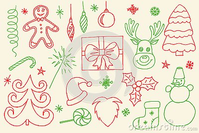Sketchy vector hand drawn Doodle cartoon set of objects and symbols on the Merry Christmas
