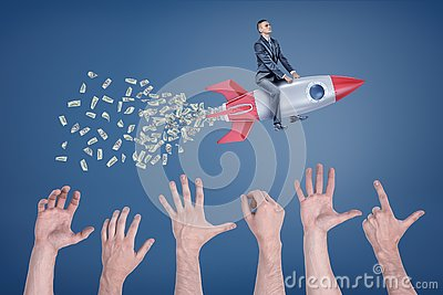 A businessman flies sitting on a rocket that leaves a tail of money with many giant hands trying to catch it.