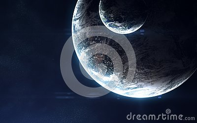 stock image of deep space, exoplanets in light of blue star. abstract science fiction. elements of the image are furnished by nasa