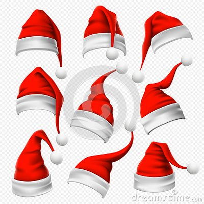 Santa Claus hats. Christmas red hat, xmas furry headdress and winter holidays head wear decoration 3D vector set