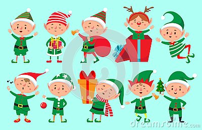 stock image of christmas elf character. santa claus helpers cartoon, cute dwarf elves fun characters vector isolated