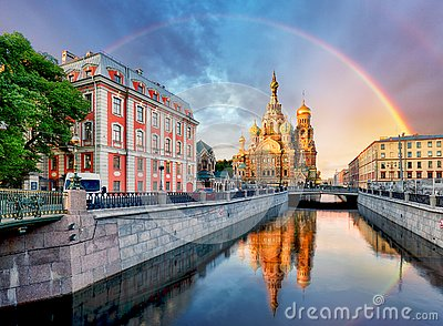 Russia, St. Petersburg - Church Saviour on Spilled Blood with ra