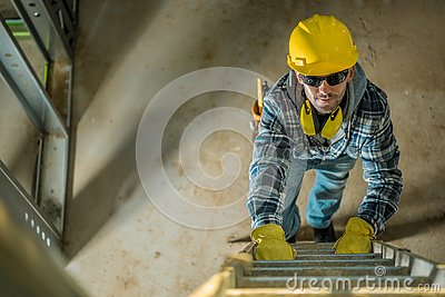 Contractor on a Ladder